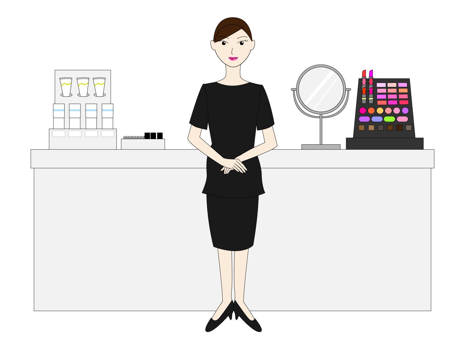 化粧品売り場と美容部員