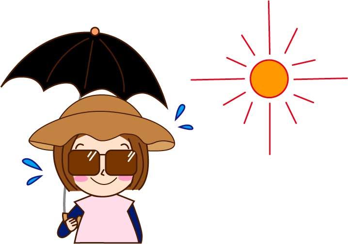 日焼け対策をしている女性