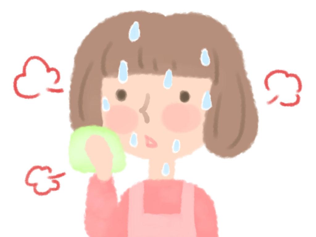 顔汗に困っている女性